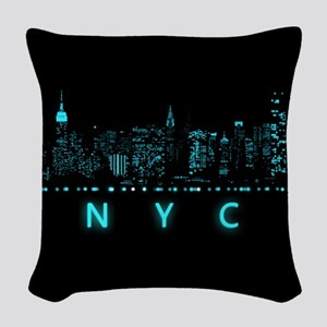 Digital Cityscape: New York Ci Woven Throw Pillow